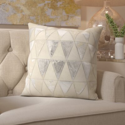 Stephen Natural Leather Hide Throw Pillow Color: White Silver