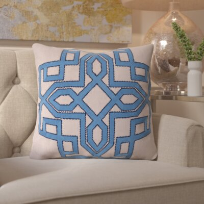 Hudgens Linen Throw Pillow Size: 22 H x 22 W x 4 D, Color: Sky Blue / Taupe, Filler: Down
