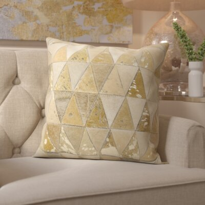 Stephen Natural Leather Hide Throw Pillow Color: Beige Gold