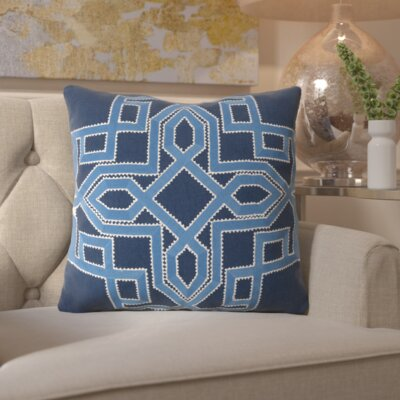 Hudgens Linen Throw Pillow Size: 20 H x 20 W x 4 D, Color: Sky Blue / Navy, Filler: Down