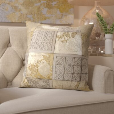 Surrey Natural Leather Throw Pillow Color: Beige Gold