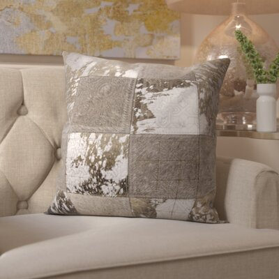 Surrey Natural Leather Throw Pillow Color: Gray Silver