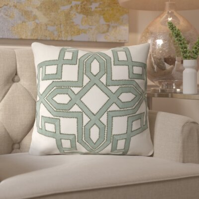Hudgens Linen Throw Pillow Size: 18 H x 18 W x 4 D, Color: Moss / Ivory, Filler: Down