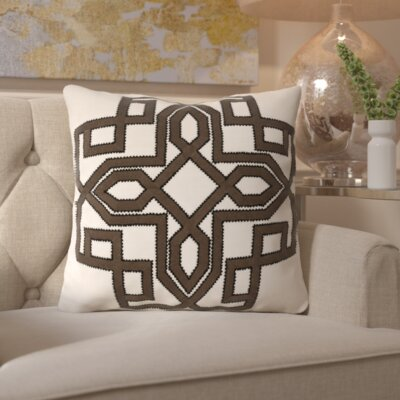 Hudgens Linen Throw Pillow Size: 18 H x 18 W x 4 D, Color: Chocolate / Ivory, Filler: Down