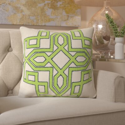 Hudgens Linen Throw Pillow Size: 18 H x 18 W x 4 D, Color: Lime / Ivory, Filler: Down