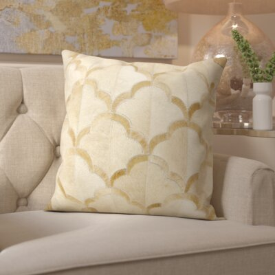 Cecil Natural Leather Hide Throw Pillow Color: Beige