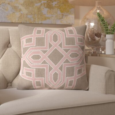 Hudgens Linen Throw Pillow Size: 18 H x 18 W x 4 D, Color: Salmon / Taupe, Filler: Down