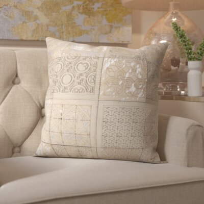 Surrey Natural Leather Throw Pillow Color: White Silver