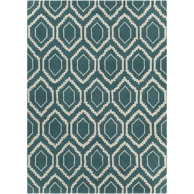 Electra Hand Tufted Rectangle Contemporary Blue/Cream Area Rug Rug Size: 5 x 7