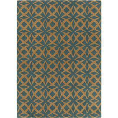 Erith Hand Tufted Rectangle Contemporary Blue/Gold Area Rug Rug Size: 7 x 10