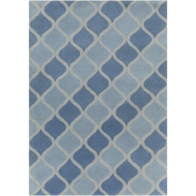 Erith Hand Tufted Rectangle Contemporary Aqua/Blue Area Rug Rug Size: 5 x 7