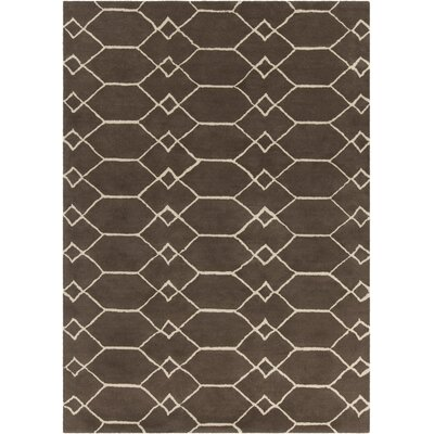 Electra Hand Tufted Rectangle Contemporary Brown/Cream Area Rug Rug Size: 7 x 10