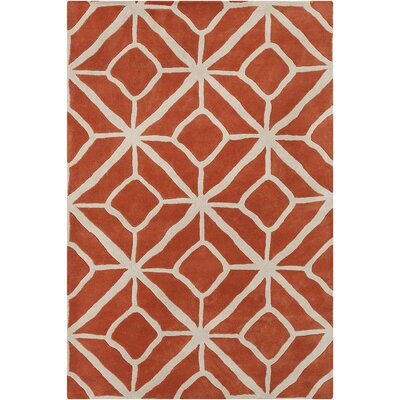 Borset Hand Tufted Wool Orange/Cream Area Rug Rug Size: 5 x 76
