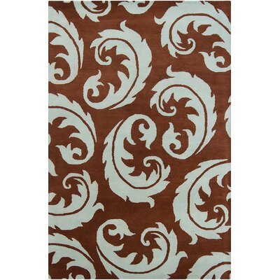 Borset Hand Tufted Wool Dark Brown/Light Blue Area Rug Rug Size: 5 x 76