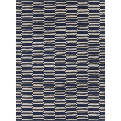 Electra Hand Tufted Rectangle Contemporary Blue/Cream Area Rug Rug Size: 7 x 10