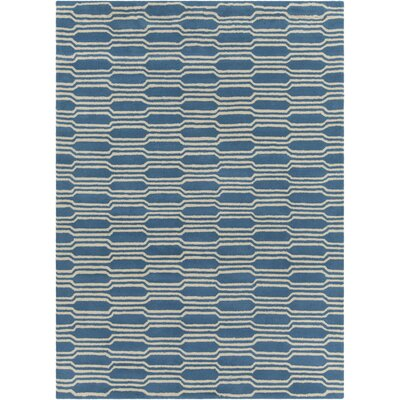 Electra Hand Tufted Rectangle Contemporary Aqua/Cream Area Rug Rug Size: 7 x 10