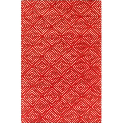 Borset Hand Tufted Wool Red/Cream Area Rug Rug Size: 5 x 76