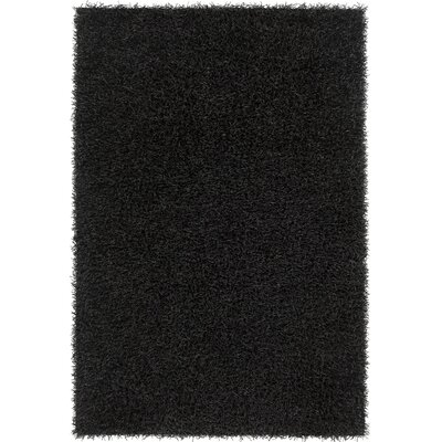 Heston Hand Woven Rectangle Contemporary Shag Black Area Rug Rug Size: 79 x 106