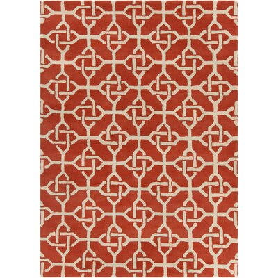 Electra Hand Tufted Rectangle Contemporary Orange/Cream Area Rug Rug Size: 7 x 10