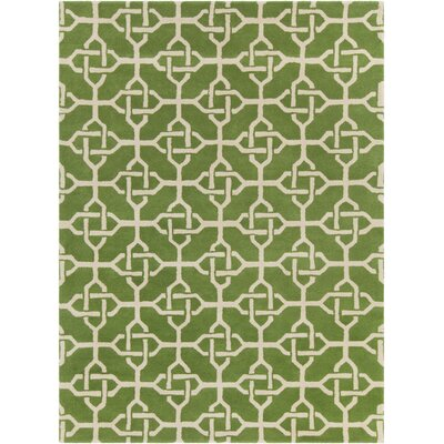Electra Hand Tufted Rectangle Contemporary Green/Cream Area Rug Rug Size: 5 x 7