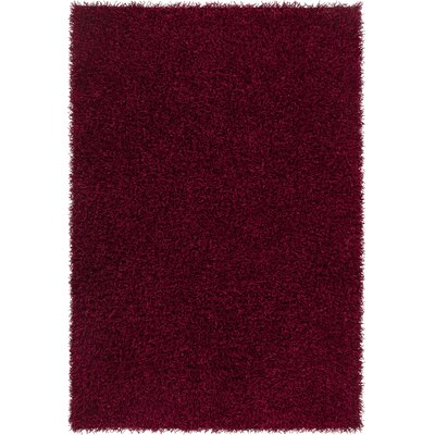 Heston Hand Woven Rectangle Contemporary Shag Cherry Red Area Rug Rug Size: 79 x 106