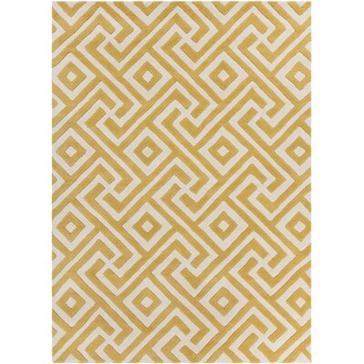 Electra Hand Tufted Rectangle Contemporary Yellow/Cream Area Rug Rug Size: 7 x 10