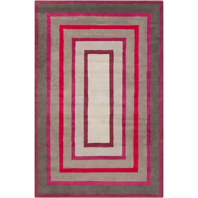 Borset Hand Tufted Wool Gray/Red Area Rug Rug Size: 8 x 10