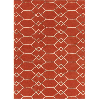 Electra Hand Tufted Rectangle Contemporary Orange/Cream Area Rug Rug Size: 5 x 7
