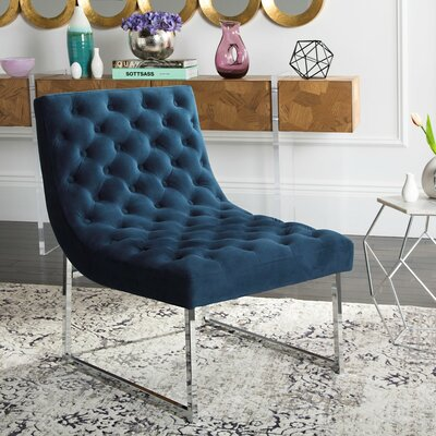 Areswell Velvet Tufted Lounge Chair Color: Navy