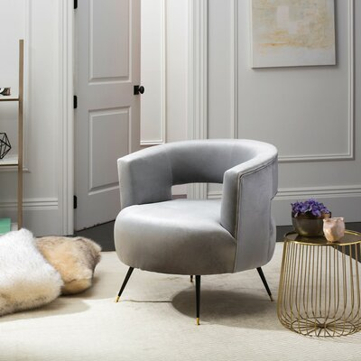 Nila Velvet Retro Mid Century Barrel Chair Color: Light Gray
