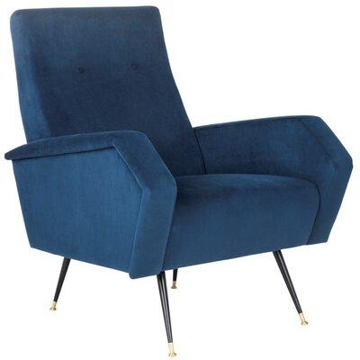 Molly Velvet Retro Mid Century Armchair Upholstery: Navy