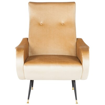 Naya Velvet Retro Mid Century Lounge Chair Upholstery: Camel