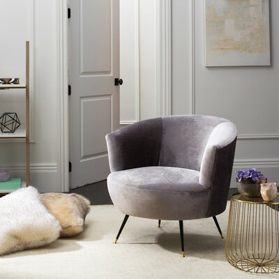Snodland Velvet Retro Mid Century Barrel Chair Color: Gray