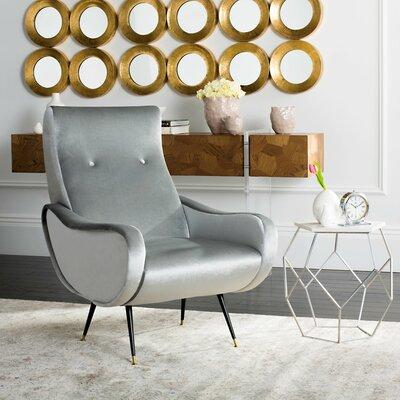 Soham Velvet Retro Mid Century Lounge Chair Upholstery: Light Gray