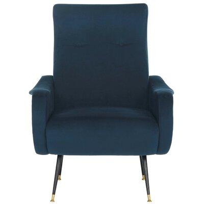 Naya Velvet Retro Mid Century Lounge Chair Upholstery: Navy