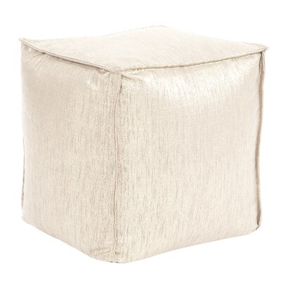 Birness Square Pouf Ottoman Color: Snow