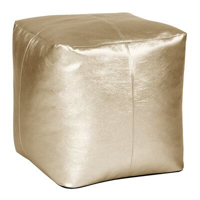 Bismuth Square Pouf Shimmer Ottoman Color: Gold