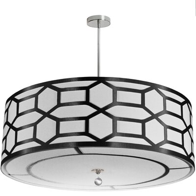 Francene 8-Light Drum Pendant Shade Color: Black/White