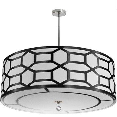 Middleham 8-Light Drum Pendant Shade Color: Black/White