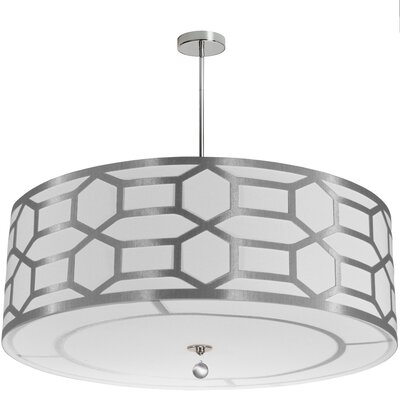 Francene 8-Light Drum Pendant Shade Color: Silver/White