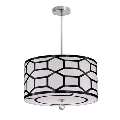 Francene 4-Light 400W Drum Pendant Shade Color: Black/White, Size: 7 H x 19 W x 19 D