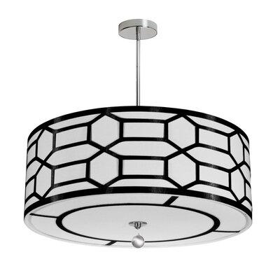 Francene 4-Light 400W Drum Pendant Shade Color: Black/White, Size: 8 H x 24 W x 24 D