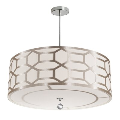 Francene 4-Light 400W Drum Pendant Shade Color: Winter Gold, Size: 8 H x 24 W x 24 D