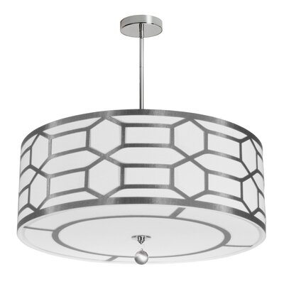 Middleham 4-Light Drum Pendant Shade Color: Silver/White, Size: 8 H x 24 W x 24 D