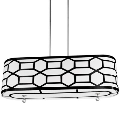 Middleham 4-Light Drum Pendant Finish: Black/White