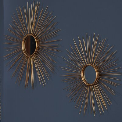 Melora Sunburst Round Metal Wall Mirror