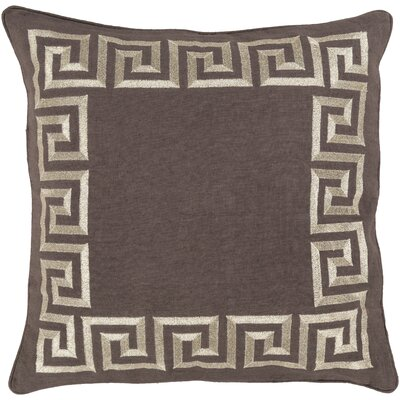 Jans Linen Throw Pillow Size: 22 H x 22 W x 4 D, Color: Charcoal, Filler: Down