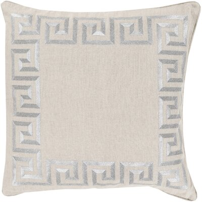 Jans Linen Throw Pillow Size: 22 H x 22 W x 4 D, Color: Light Gray, Filler: Down