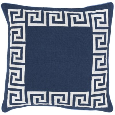 Jans Linen Throw Pillow Size: 20 H x 20 W x 4 D, Color: Navy, Filler: Polyester
