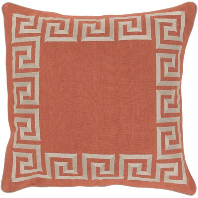 Jans Linen Throw Pillow Size: 22 H x 22 W x 4 D, Color: Rust, Filler: Down